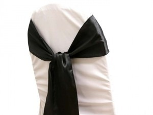 Tablecloths Factory Black Satin Chair Sashes Ceremony Decoration