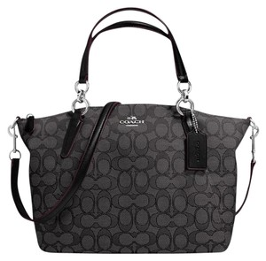 Coach Silvertone Hardware Satchel in Black / Black Smoke
