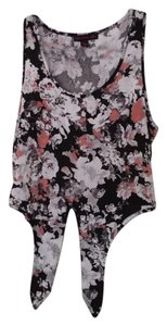 Material Girl Fall Crop Top Gray Floral