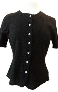 Worthington Stretch Lace Pearlized Buttons Short Sleeves Top Black Lace