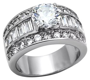 Other New Wide Stainless Steel CZ Wedding Ring