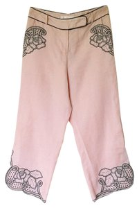 Sarafia Couture Pink Embroidered Pants Capris linen