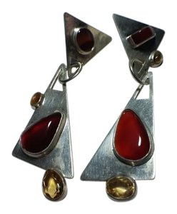 Fun Triangular Agate and Citrine Sterling Silver Earrings