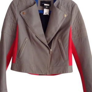 BCBGMAXAZRIA Grey / Red Leather Jacket