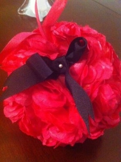 Pink with Black Bows (Removable) Flower Balls (Kissing Balls) Ceremony Decoration