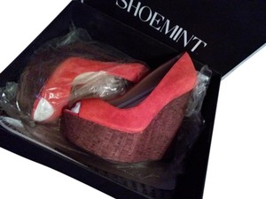Shoemint New Leather Suade Peep Toe Wedges