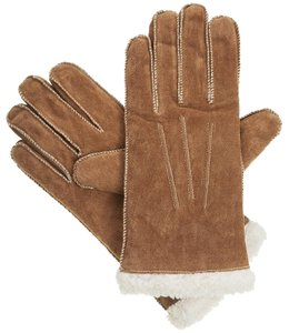 Isotoner Brown Moccasin Stitch Suede Sherpasoft Lined Winter Gloves XL