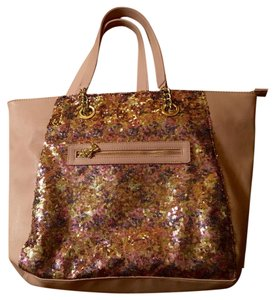 Betsey Johnson Sequin Oversize New Tote in Tan