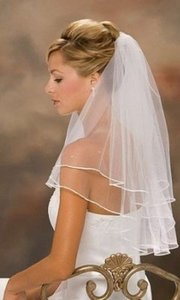 White Medium 2 Tier Pearl Ribbon with Comb Bridal Veil