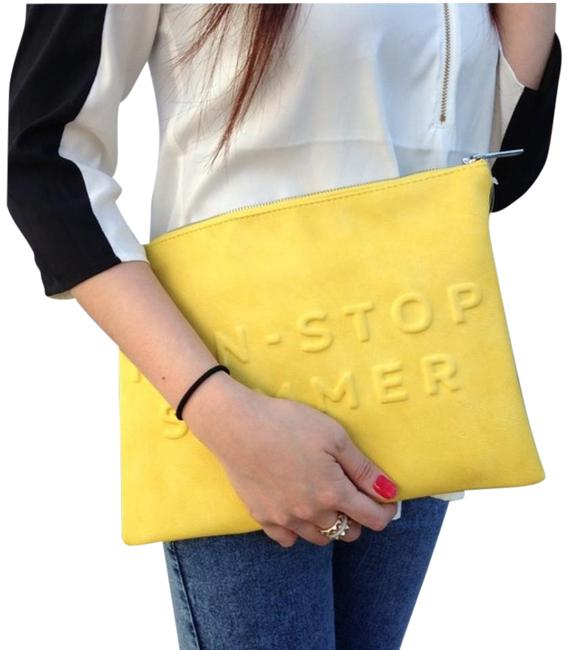 Item - Pouch Yellow Faux Leather Clutch