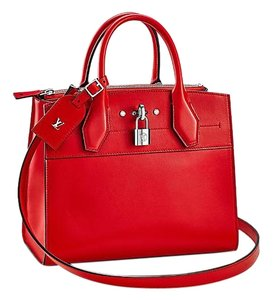 Louis Vuitton Smooth Calf Skin Tote in red