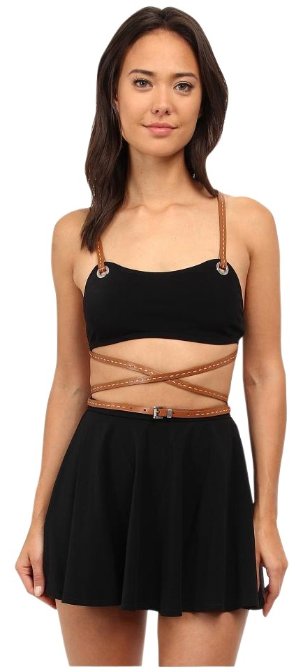 e2a79948b5 Michael Kors Black Strappy Belted Skirted Two-piece Swimsuit Bikini ...