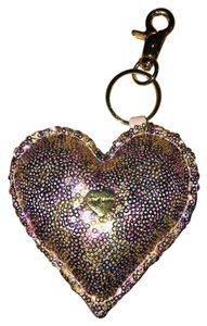 Betsey Johnson New Key Chain Sequined Puffed Heart with Stamped Logo Mini Metal Heart