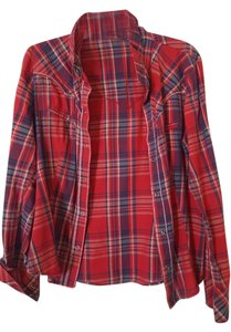 Forever 21 Long Sleeve Plaid Shirt Button Down Shirt red