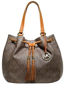 Michael Kors Large Jet Set Marina Gathered Signature Tote in Brown