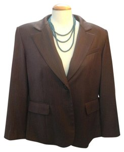 Travis Ayers Pinstripe Notched Collar Two Button Closure Brown Blazer
