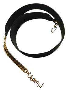 Saint Laurent YSL leather belt with gold chain