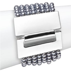 Kenneth Jay Lane Kenneth Jay Lane Eight-Row Simulated Pearl Bracelet/Silvertone