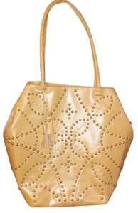 Isabella Fiore Studded Leather Tote in Cognac