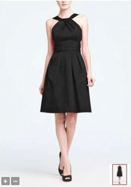 Item - Black Cotton Short Y-neck and Skirt Pleating Style 83690 Formal Bridesmaid/Mob Dress Size 8 (M)