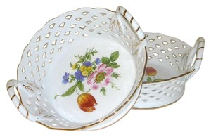 Royal Danube 2 New Royal Danube Floral Fruit Bowl candy/Bread dish with Lace Accent