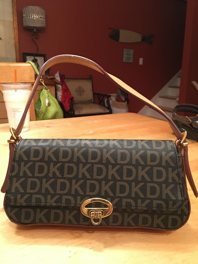 DKNY Sweet DKNY Logo Bag in Tradition Dark Brown Background and Cognac Letters Messenger Bag