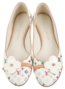 Louis Vuitton Lv Monogram Gold Hardware White, Gold, Multicolor Flats