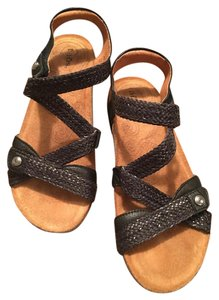 ad44a14c6ac2 Taos Footwear Dark Chocolate Brown Woven Leather Straps with Super Support  Comfort Cork Insole Sandals