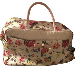 Betsey Johnson White And Floral Travel Bag