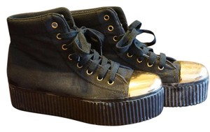 Jeffrey Campbell Sneaker Sneaker Cap Toe Black and Gold Platforms