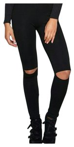 Other Trendy Distressed Frayed High Waist Stretchy Black Leggings