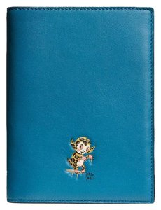 Coach Coach Limited Edition Baseman Peacock Blue Leather Passport Case