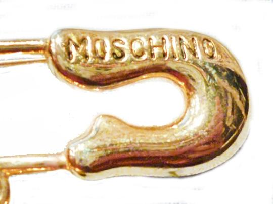 Moschino MOSCHINO PEACE AND LOVE GOLD TONE SAFETY PIN BROOCH-1990'S
