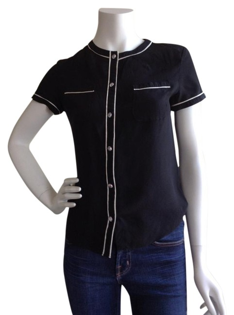 Moschino Black Silk Blouse Button Down Top Size 4 S
