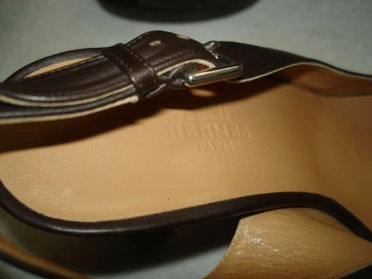 Hermès DARK BROWN LEATHER Sandals