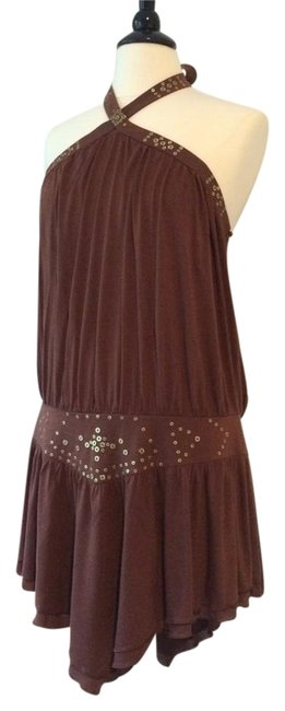 BCBGMAXAZRIA Henna Brown Halter Top