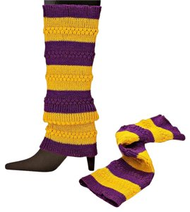 Other Yellow Stripe Knitted Leg Warmer Boot Socks Boot Topper