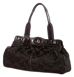 Coach Signature Fabric Leather Trim Satchel in Black