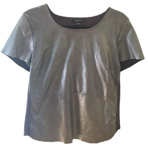 Trouvé Leather T Shirt Out Date Night Top Grey