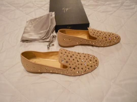 Giuseppe Zanotti Swarovski Crystals Lovely Neutral Color Made In Italy Beige Flats
