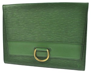 Louis Vuitton Document Wristlet green Clutch