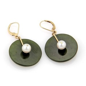 Other Estate,14k,Yellow,Gold,Jade,Pearl,Disc,Drop,Dangle,Earrings