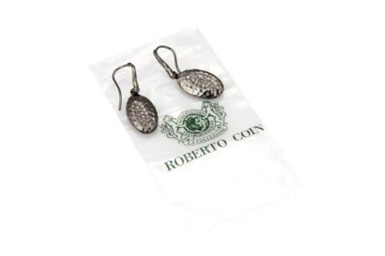 Roberto Coin ,Roberto,Coin,Sterling,Hammered,Dangle,Drop,Oval,Earrings,With,Diamonds