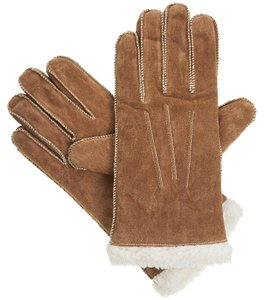 Isotoner Brown Moccasin Stitch Suede Sherpasoft Lined Winter Gloves L
