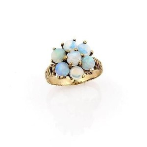 Victorian,10k,Yellow,Gold,Australian,Fairy,Opal,Flower,Ring,-,Size,7
