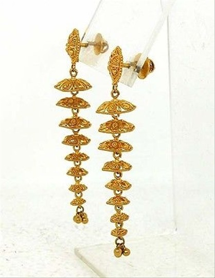 Other ,22k,Gold,Ladies,Long,Ornate,Dangle,Earrings