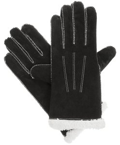 Isotoner Black Moccasin Stitch Suede Sherpasoft Lined Winter Gloves XL