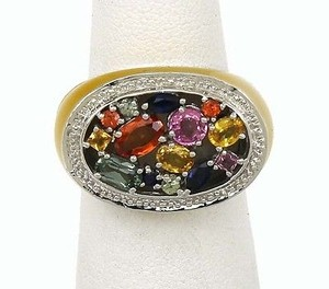 ,14k,Gold,2.26,Cts,Multi,Color,Sapphires,Enamel,Band,Ring