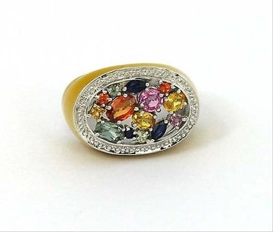 Other ,14k,Gold,2.26,Cts,Multi,Color,Sapphires,Enamel,Band,Ring