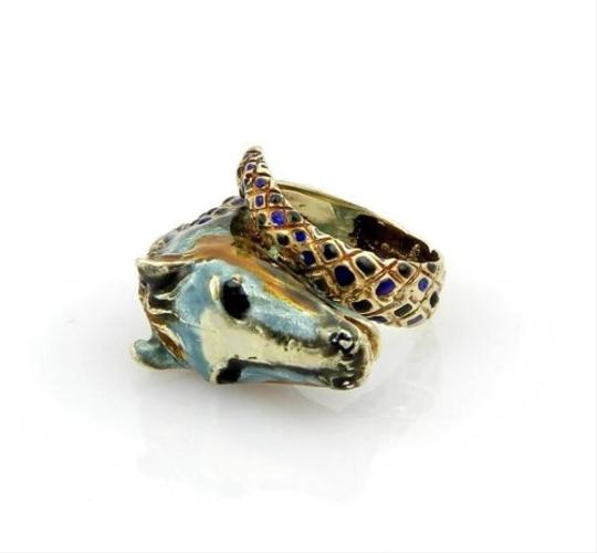 Other Estate,14k,Yellow,Gold,Enamel,Horse,Head,Equestrian,Cross,Over,Ring,-,Size,6